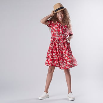 Printed Dress with Short Sleeves and Pocket Detail