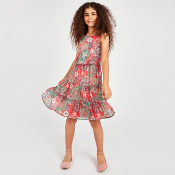 Floral Print Sleeveless Dress with Round Neck