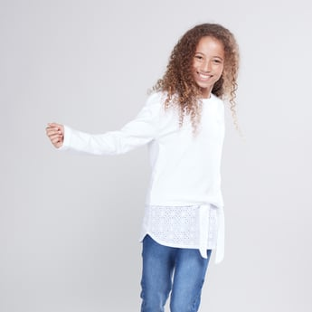 Plain Sweat Top with Long Sleeves and Knot Detail
