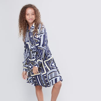 Printed Dress with Long Sleeves and Tie Ups