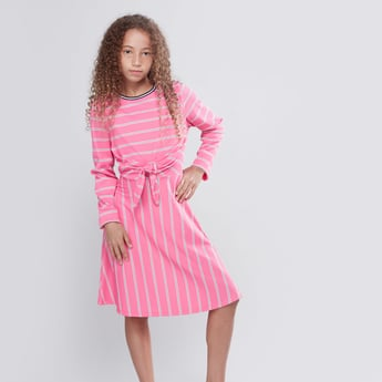 Striped Dress with Long Sleeves and Knot Detail