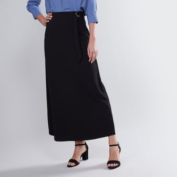 Plain Maxi A-line Skirt with D-Ring Belt