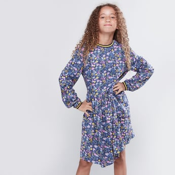 Floral Printed Dress with Round Neck and Long Sleeves