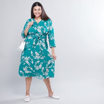 Floral Printed A-line Midi Dress with Tie Ups and 3/4 Sleeves