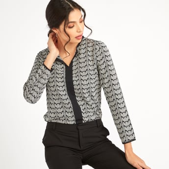 Printed Formal Top with V-neck and Long Sleeves
