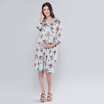 فستان للحوامل سادة إيه لاين متوسط الطول بياقة V وأكمام 3/4