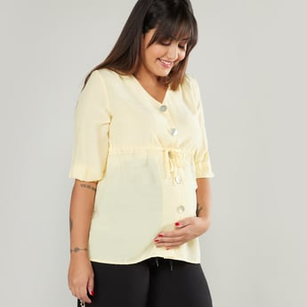 Plain Maternity Top with V-neck and Short Sleeves