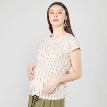 Striped Maternity Top with Round Neck and Cap Sleeves
