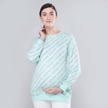 Printed Maternity Sweat Top with Round Neck and Long Sleeves