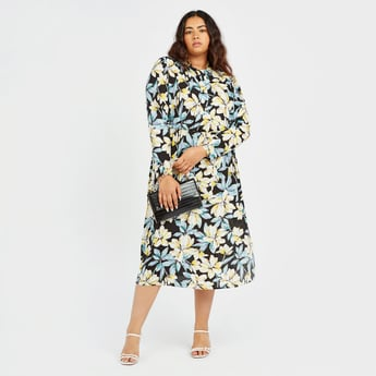 All-Over Floral Print Midi Dress with Long Sleeves and Tie Ups