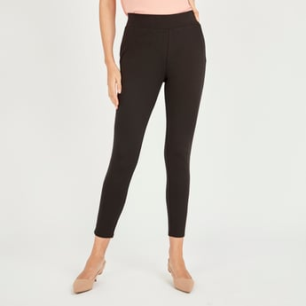 Slim Fit Low Rise Solid Ponte Pants