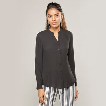 Solid Top with Mandarin Collar and Long Sleeves