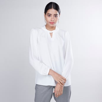 Plain Top with Long Sleeves and Twist Detail High Neck