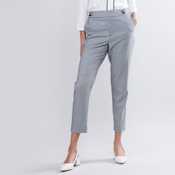 Houndstooth Print Mid-Rise Trousers with Metal Button Accent