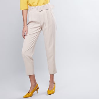 Solid Pleated Trousers with Belt