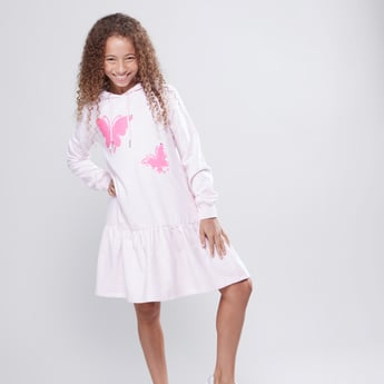 Reversible Sequin Detail Dress with Long Sleeves and Hood