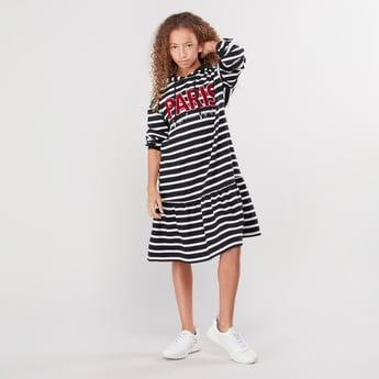 Striped Dress with Long Sleeves and Hood