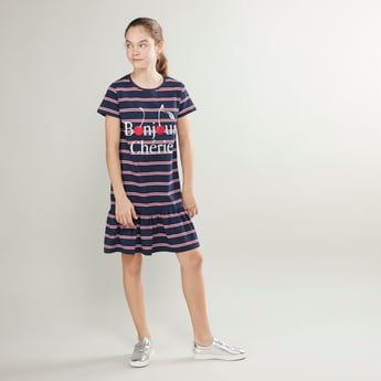 Striped Round Neck Dress with Short Sleeves