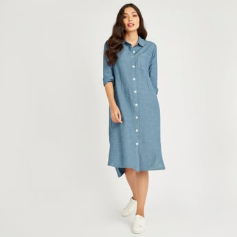 Striped Shirt Dress with Pocket Detail and Long Sleeves