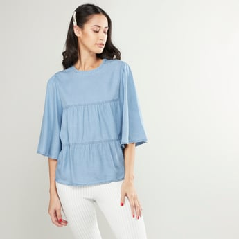 Solid Tiered Round Neck Top with Bell Sleeves