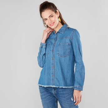 Denim Shirt with Patch Pocket and Long Sleeves