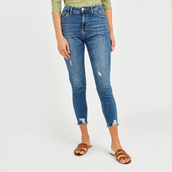 Skinny Fit Ripped High-Rise Cropped Jeans