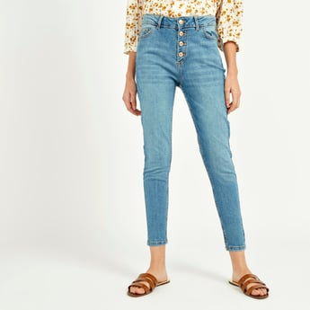 Skinny Fit High-Rise Cropped Jeans with Button Through Placket