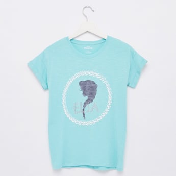Elsa Print T-shirt with Round Neck and Stud Detail
