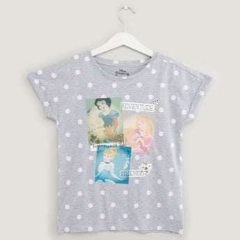 Princess Print T-shirt with Round Neck and Cap Sleeves