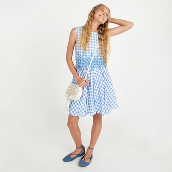 Chequered Sleeveless Gingham Dress with Embroidery