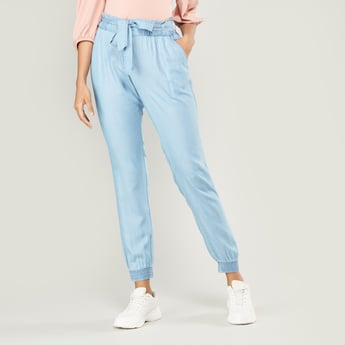 Solid Paper Bag Pants with Pockets and Waist Tie-Up