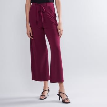 Ankle Length Trousers with Pocket Detail and Tie Ups