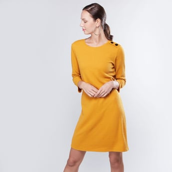 Solid Jacquard Round Neck Shift Dress with 3/4 Sleeves