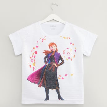 Anna Print T-shirt with Round Neck and Sequin Detail