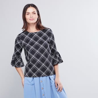 Round Neck Checked Top with Bell Sleeves