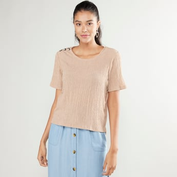 Textured Top with Button Detail and Short Sleeves