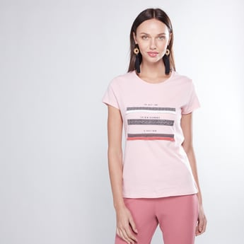 Printed T-shirt with Short Sleeves and Tassels