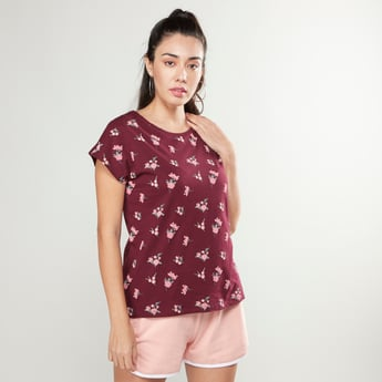 Printed T-shirt with Round Neck and Cap Sleeves