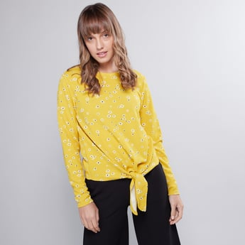 Printed T-shirt with Long Sleeves and Knot Detail