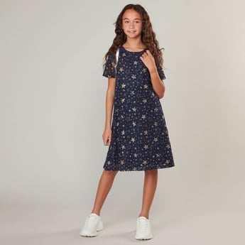 Star Print Lace Dress with Round Neck and Short Sleeves