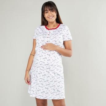 فستان حوامل للنوم بطبعات وياقة هينلي