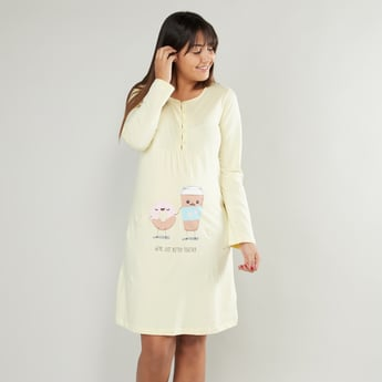 Printed Maternity Sleep Dress with Round Neck and Long Sleeves