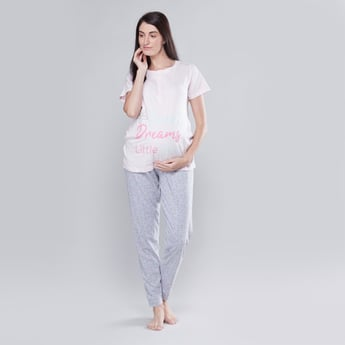 Maternity Printed Round Neck T-shirt with Full Length Jog Pants