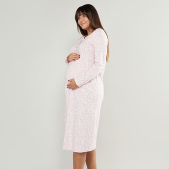 Floral Print V-Neck Maternity Sleepshirt with Long Sleeves