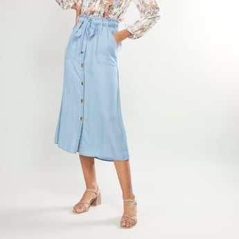 Solid Midi Skirt with Paper Bag Waist and Front Button Closure