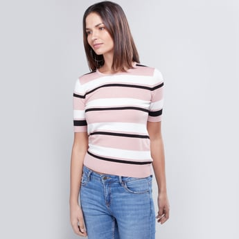 Striped Sweater with Round Neck and Short Sleeves