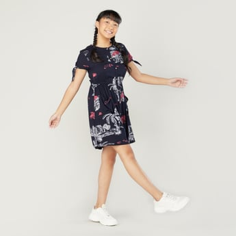 Printed Shirt Dress with Round Neck and Short Sleeves