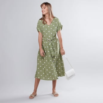 Polka Dot Printed A Line Dress with Short Sleeves and V-Neck