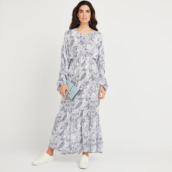 Printed Maxi A-line Dress with V-neck and Bishop Sleeves