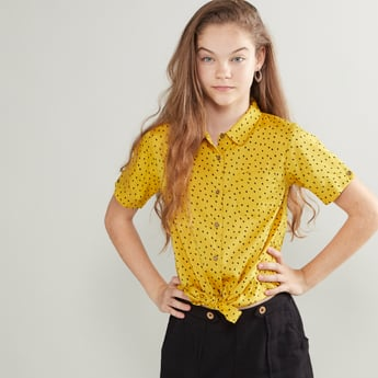 Printed Tie Front Shirt with Patch Pocket